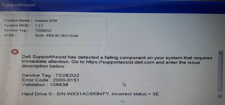 Dell: Error Code 2000-0151 — Hard Drive incorrect status 3E