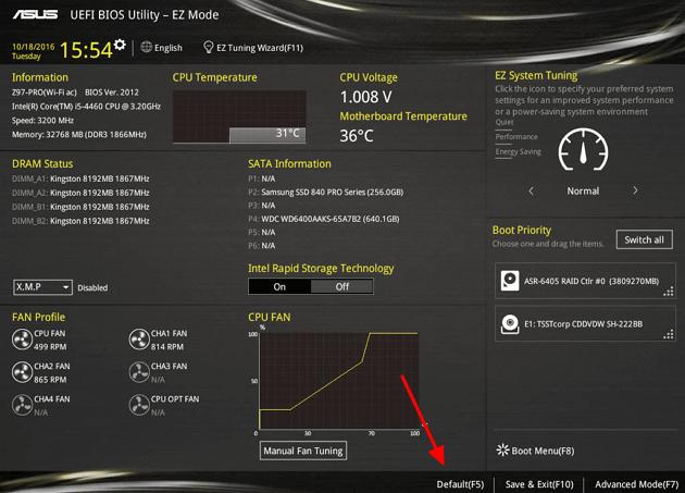 Cброс UEFI BIOS на заводские настройки