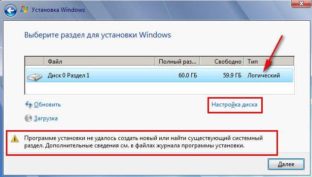 Не удалось создать новый или найти существующий раздел при установке Windows