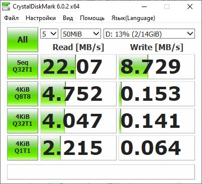 CrystalDiskMark - тест скорости флешки
