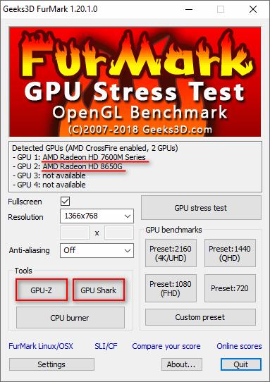 Программы теста видеокарты FurMark
