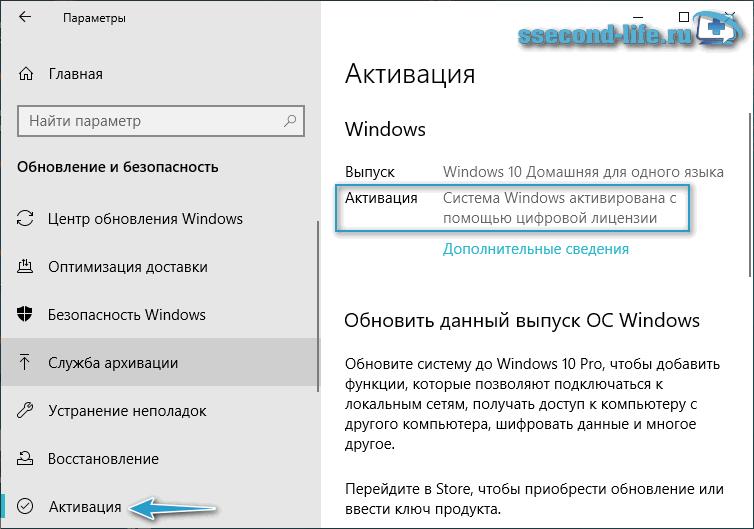 Состояние активации Windows 10 в Параметрах