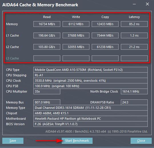 Тест скорости оперативной памяти и кэша процессора в AIDA64