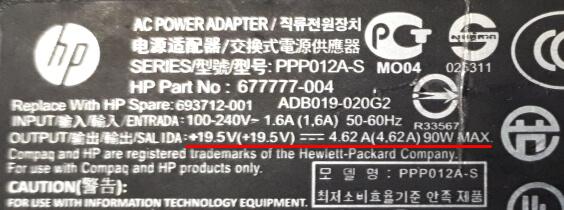 Параметры V, A, W указаны на зарядном устройстве