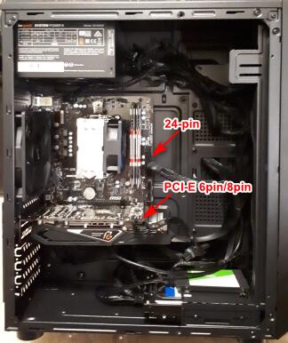 Подключение питания 24-pin, PCI-E