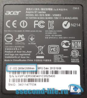 Модель ноутбука Acer Aspire E1-532-29554G50Mnkk