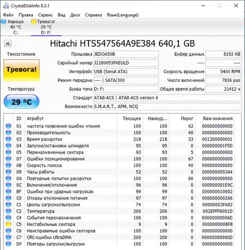 Проверка жесткого диска в CrystalDiskInfo