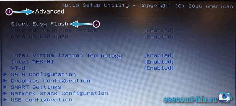 Установка BIOS на ноутбуке Asus через Start Easy Flash