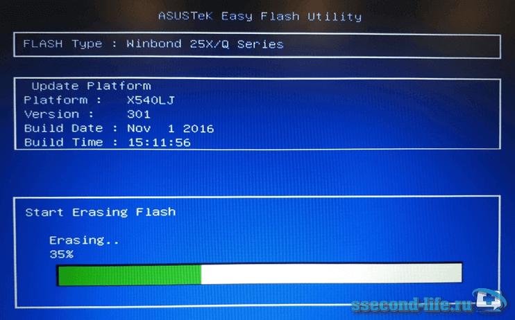 Процесс обновления BIOS на ноутбуке Asus через Start Easy Flash