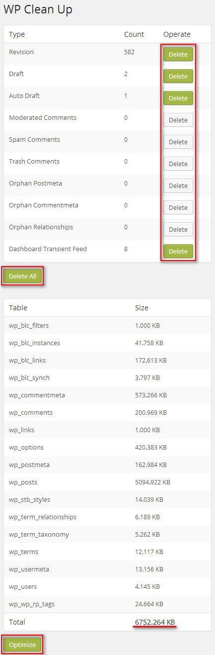 Очистка базы данных с помощью WP Clean Up